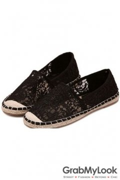 Black Crochet Lace Casual Women Loafers Flats shoes