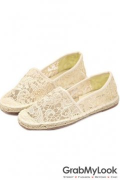 White Crochet Lace Casual Canvas Women Loafers Flats Shoes