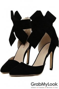 Suede Black Leather Giant Bow Ankle Stiletto High Heels Pump Women Shoes