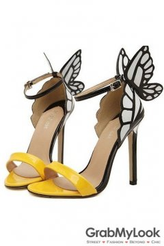 Yellow Patent Leather Butterfly Stiletto High Heels Pump Women Sandals Shoes