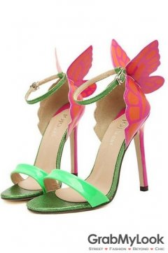 Green Red Patent Leather Butterfly Stiletto High Heels Pump Women Sandals Shoes