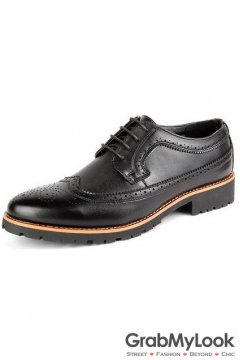 Black Vintage Leather Baroque Lace Up Mens Oxfords Dress Shoes