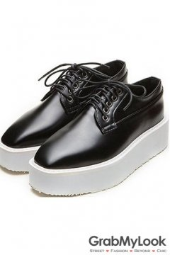 Black Glossy Punk Rock Lace Up White Platforms Oxfords Walking Women Shoes