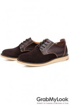 Dark Brown Suede Leather Lace Up Mens Oxfords Sneakers Shoes