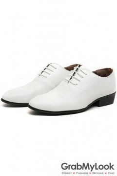 Patent Leather White Lace Up Point Head Mens Oxfords Shoes