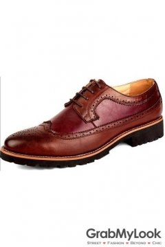Burgundy Vintage Leather Baroque Lace Up Mens Oxfords Dress Shoes
