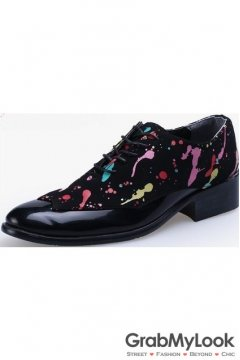 Black Patent Leather Painting Lace Up Point Head Mens Oxfords Shoes