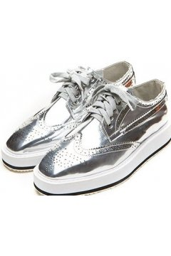 Silver Metallic Punk Rock Lace Up White Platforms Women Oxfords Shoes