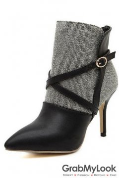 Black Point Head Cross Straps Ankle Stiletto Heels Women Shoes Boots