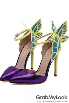 Purple Patent Leather Butterfly Ankle Stiletto High Heels Pump Women Shoes