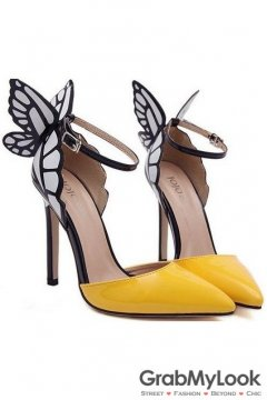Yellow Patent Leather Butterfly Ankle Stiletto High Heels Pump Women Shoes