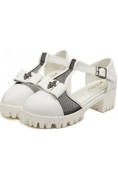 White Leather T Strap Cross Bow Sandals Women Platforms Shoes