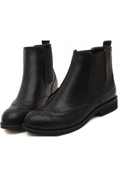 Round Head Vintage Black Leather Flat Ankle women Boots Shoes