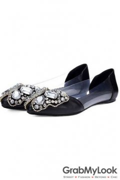Black Leather Jewels Diamond Fancy Flats Ballerina Women Sandals Shoes