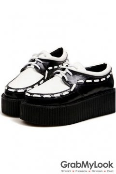 Black White Punk Rock Stitches Thick Sole Platforms Lace Up Creepers Women Oxfords Shoes