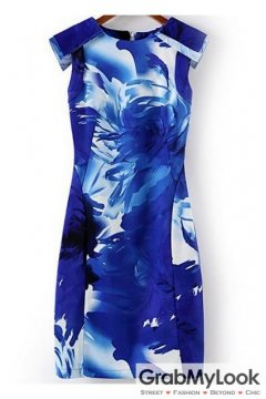 Blue White Floral Pattern Sleeveless Bodycon Dress
