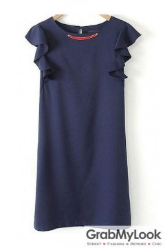 Navy Blue Ruffle Sleeveless Round Neck Slim Dress