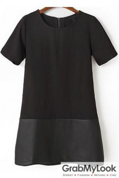 Black PU Leather Short Sleeves Straight Short Dress