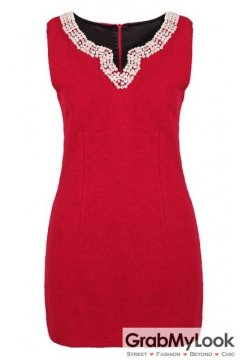 Red Beaded Woolen Sleeveless V Neck Dress Skirt