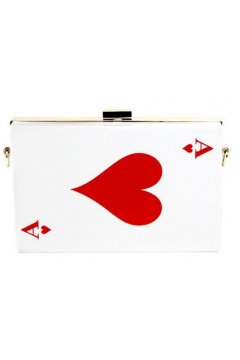 Poker Card White Acrylic Rectangular Evening Clutch Purse Jewelry Box