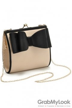 Big Bow Elegant Black Beige Satin Evening Clutch Purse
