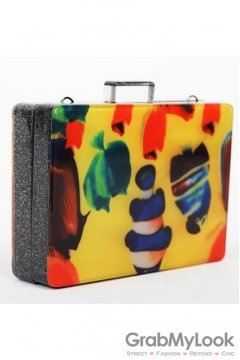 Yellow Abstract Colorful Acrylic Rectangular Evening Clutch Purse Jewelry Box