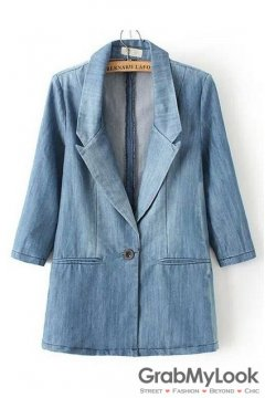 Blue Denim Long Sleeves Jacket Boy Friend Blazer
