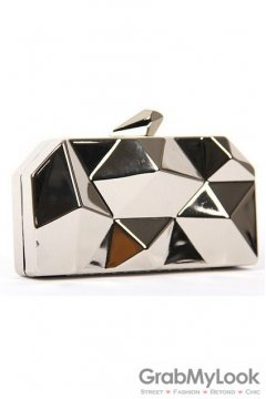 Metallic Silver Geometric Irregular Surface Evening Clutch Purse Jewelry Box