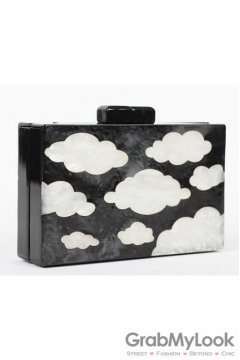 Black White Sky Cloud Acrylic Rectangular Evening Clutch Purse Jewelry Box