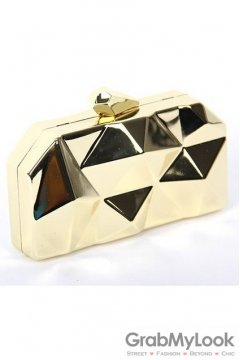 Metallic Gold Geometric Irregular Surface Evening Clutch Purse Jewelry Box