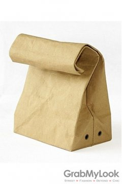 Paper Bag Look Roll Brim Rectangular Evening Oversized Envelope Clutch Purse