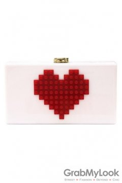 Red Heart Lego Puzzle White Acrylic Rectangular Evening Clutch Purse Jewelry Box