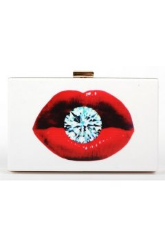 Poker Card Diamond Red Lips Mouth White Acrylic Rectangular Evening Clutch Purse Jewelry Box