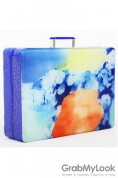 Blue Abstract Colorful Acrylic Rectangular Evening Clutch Purse Jewelry Box
