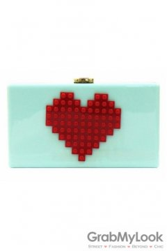 Red Heart Lego Puzzle Blue Acrylic Rectangular Evening Clutch Purse Jewelry Box