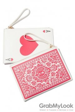 Poker Card Rectangular Evening Oversized Clutch Purse