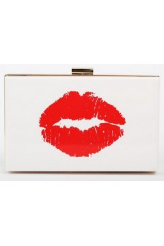 Poker Card Red Lips Mouth White Acrylic Rectangular Evening Clutch Purse Jewelry Box