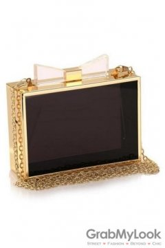 Gold Bow Transparent Acrylic Rectangular Evening Clutch Purse Jewelry Box