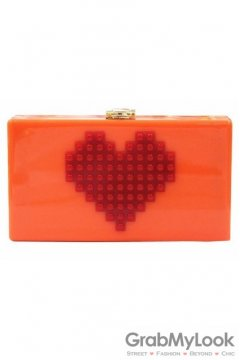 Red Heart Lego Puzzle Orange Acrylic Rectangular Evening Clutch Purse Jewelry Box