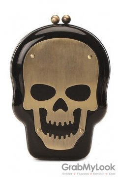 Metal Plate Skull Head Black Punk Rock Evening Clutch Purse Jewelry Box