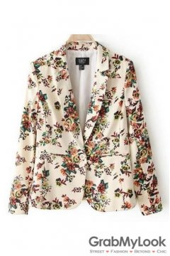 Vintage Oil Painting Floral Pattern Long Sleeves Jacket Blazer