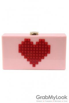 Red Heart Lego Puzzle Pink Acrylic Rectangular Evening Clutch Purse Jewelry Box
