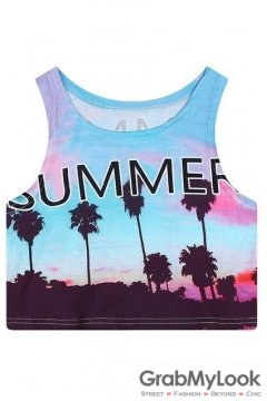 Blue Summer Scenery Cropped Sleeveless T Shirt Cami Tank Top
