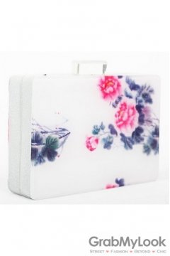 White Abstract Chinese Water Painting Acrylic Rectangular Evening Clutch Purse Jewelry Box