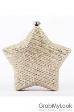 Shining Star Gold Glitter Blink Evening Clutch Purse Jewelry Box
