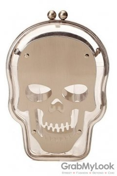 Metal Plate Skull Head Transparent Punk Rock Evening Clutch Purse Jewelry Box