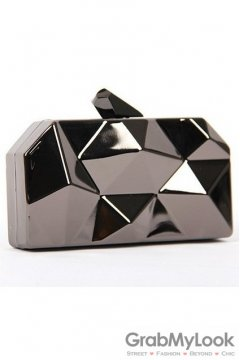 Metallic Black Geometric Irregular Surface Evening Clutch Purse Jewelry Box