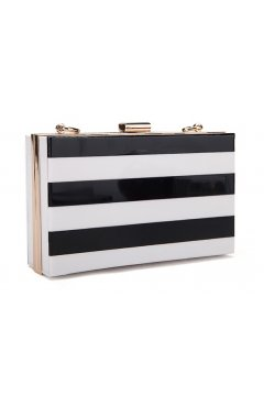 Black White Stripes Acrylic Rectangular Evening Clutch Purse Jewelry Box