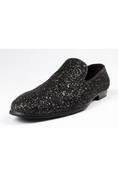 Gillter Sparkle Black Mens Loafers Dress Shoes Flats