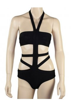 Bandage Fashionable Black Stripes Sexy One Piece Bikini Swimwear Swimsuits